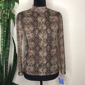 Mock turtleneck mesh Leopard print long sleeve